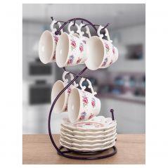 طقم قهوة بونشينا بحامل استيل