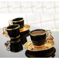طقم قهوة بالطبق اسود