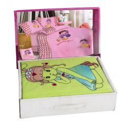 طقم سرير اطفال مطرز× مطبوع 6 قطع تصميمات مختلفة